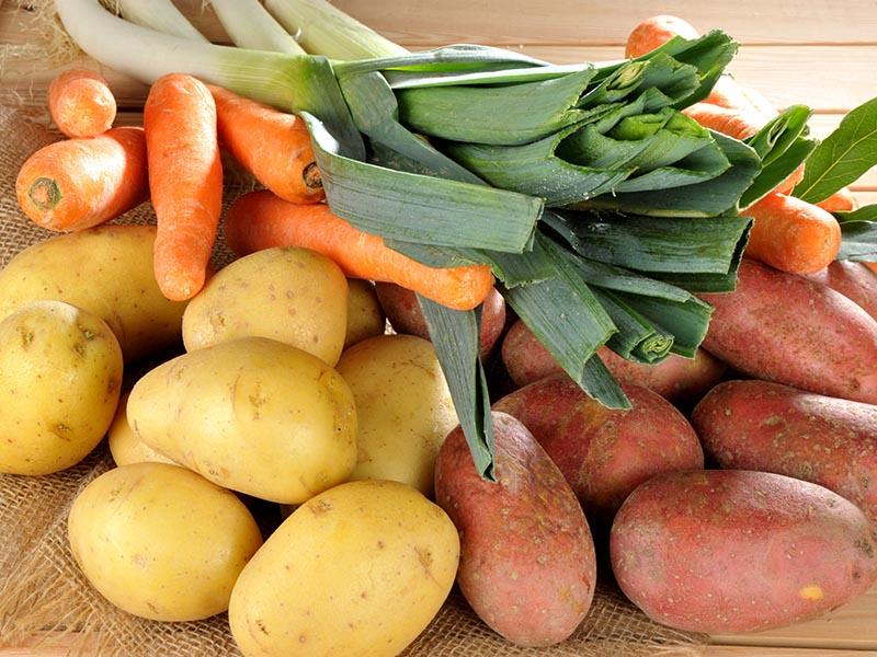 Pommes de terre, carottes, poireaux